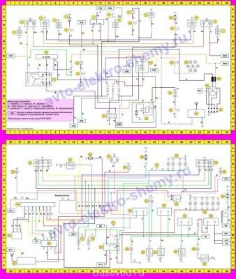 Схема РАФ-2203 и некоторых моделей не хватает только блока предов на 10 единиц. - shema-elektrooborudovaniya-avtomobilei-raf.jpg